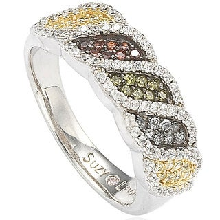 Suzy Levian Pave Cubic Zirconia Sterling Silver Multi-Color Wavy Ring