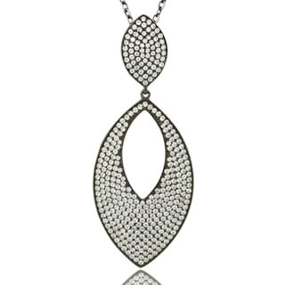 Suzy Levian Cubic Zirconia Sterling Silver Oval Pave Pendant