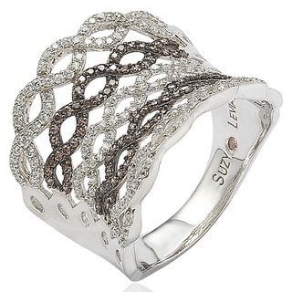 Suzy Levian Pave Cubic Zirconia Sterling Silver Criss-Cross Chocolate Ring
