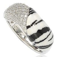 Suzy Levian Cubic Zirconia Sterling Silver Pave & Animal Print Ring - White Black