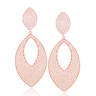 Suzy Levian Cubic Zirconia Sterling Silver Diamond Shape Drop Earrings