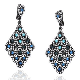 Suzy Levian Pave Cubic Zirconia Sterling Silver Diamond-Shape Blue Chandelier Earrings