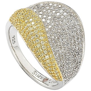 Suzy Levian Sterling Silver Cubic Zirconia Pave Yellow and White Curvy Ring