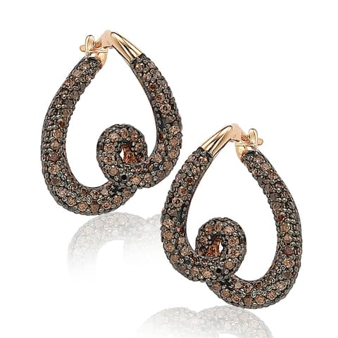 Suzy Levian Rose Sterling Silver Cubic Zirconia Swirl Earrings - Pink