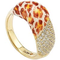 Suzy Levian Cubic Zirconia Sterling Silver Pave Yellow Leapord Ring - Brown