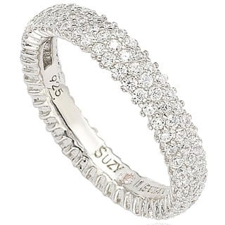 Suzy Levian Sterling Silver Micro-pave Cubic Zirconia Eternity Band|https://ak1.ostkcdn.com/images/products/10413064/P17513523.jpg?impolicy=medium