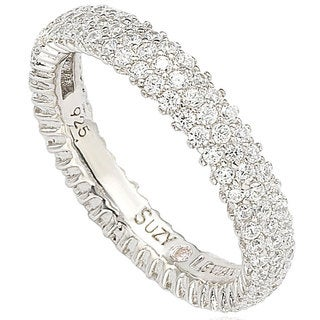 Suzy Levian Sterling Silver Micro-pave Cubic Zirconia Eternity Band (More options available)
