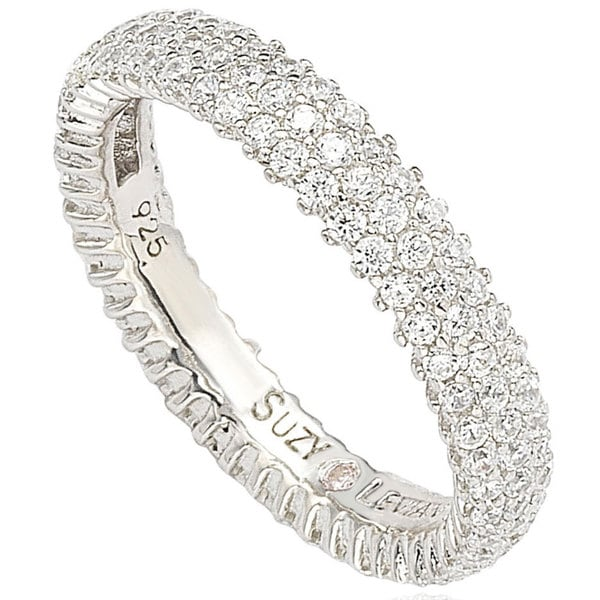 band solid bands clear eternity white round cz cut ring gold