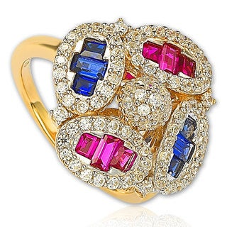 Suzy Levian Sterling Silver Cubic Zirconia Multi-Color Baguette Cluster Ring