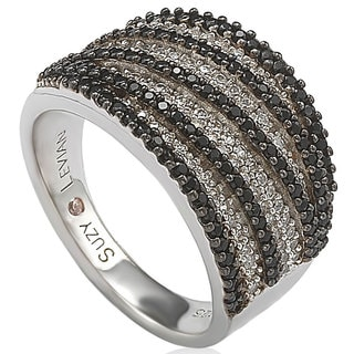 Suzy Levian Sterling Silver Pave White & Black Cubic Zirconia Ring