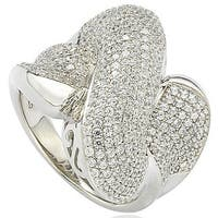 Suzy Levian Sterling Silver Cubic Zirconia Crossover X Ring