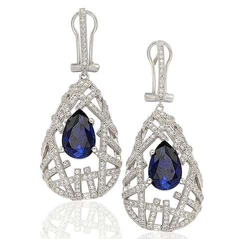 Suzy L. Sterling Silver Cubic Zirconia Blue Pear Solitaire Earrings - White