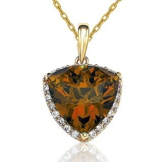 Suzy Levian 14K Gold Plated Sterling Silver Cubic Zirconia Pendant