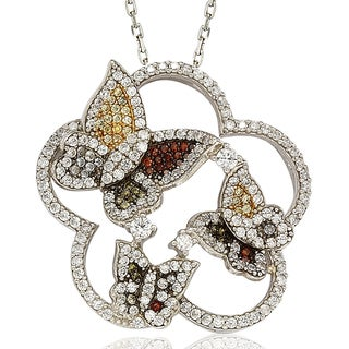 Suzy Levian Sterling Silver Cubic Zirconia Multi-Color Butterfly Pendant