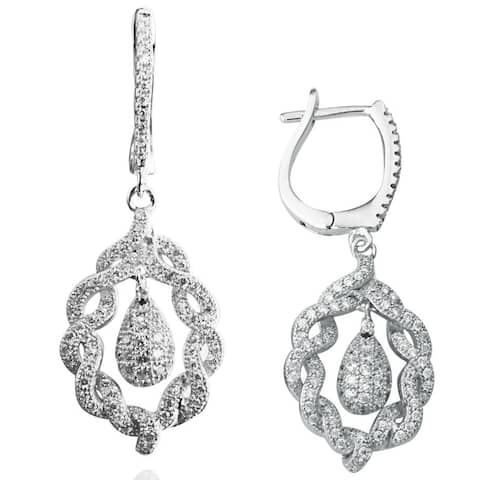 Suzy Levian Pave Cubic Zirconia Sterling Silver Flower Earrings - White
