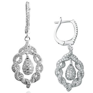 Suzy Levian Pave Cubic Zirconia Sterling Silver Flower Earrings