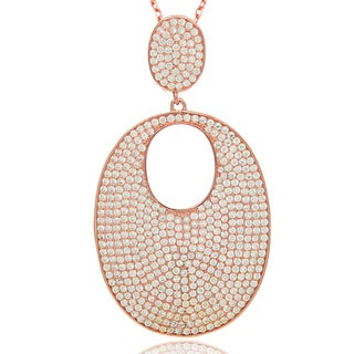 Suzy Levian Cubic Zirconia Sterling Silver Micro Pave Pendant