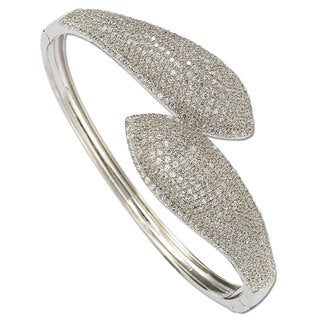 Suzy Levian Pave Cubic Zirconia Sterling Silver Bybass Bangle