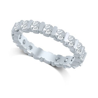 Unending Love 14k White Gold 2ct TDW Diamond Bar Eternity Band (H-I, I1-I2)