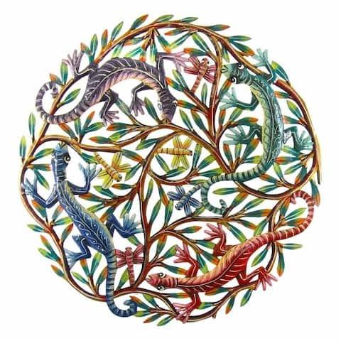 Handmade 24-inch Painted Four Colorful Geckos Metal Wall Art (Haiti)