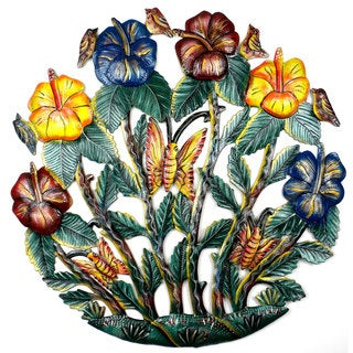 Handmade 24-inch Painted Colorful Flower Garden Metal Wall Art (Haiti)