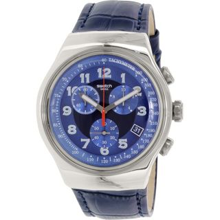 Swatch Men's YOS449 'Irony' Chronograph Blue Leather Watch