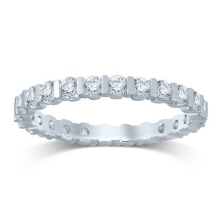 Unending Love 14k White Gold 1ct TDW Diamond Bar Eternity Band (H-I, I1-I2)