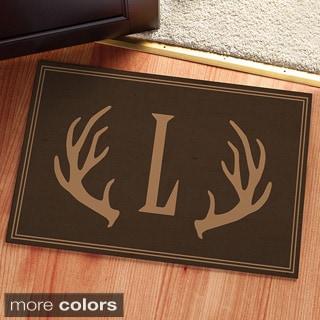 Dark Brown Antlers Personalized Doormat