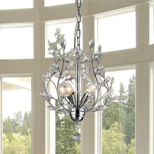 Marie 4light Chrome 13inch Crystal Chandelier Free Shipping – 4-light Chrome Crystal Chandelier