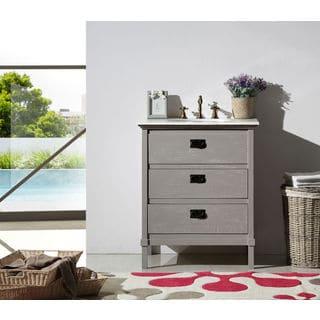 Legion Furniture 30-inch Grey Solid Wood Single Sink Vanity with Marble Top