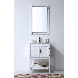 Legion Furniture 24-inch White Solid Wood Single Sink Vanity with Ceramic Top and Mirror