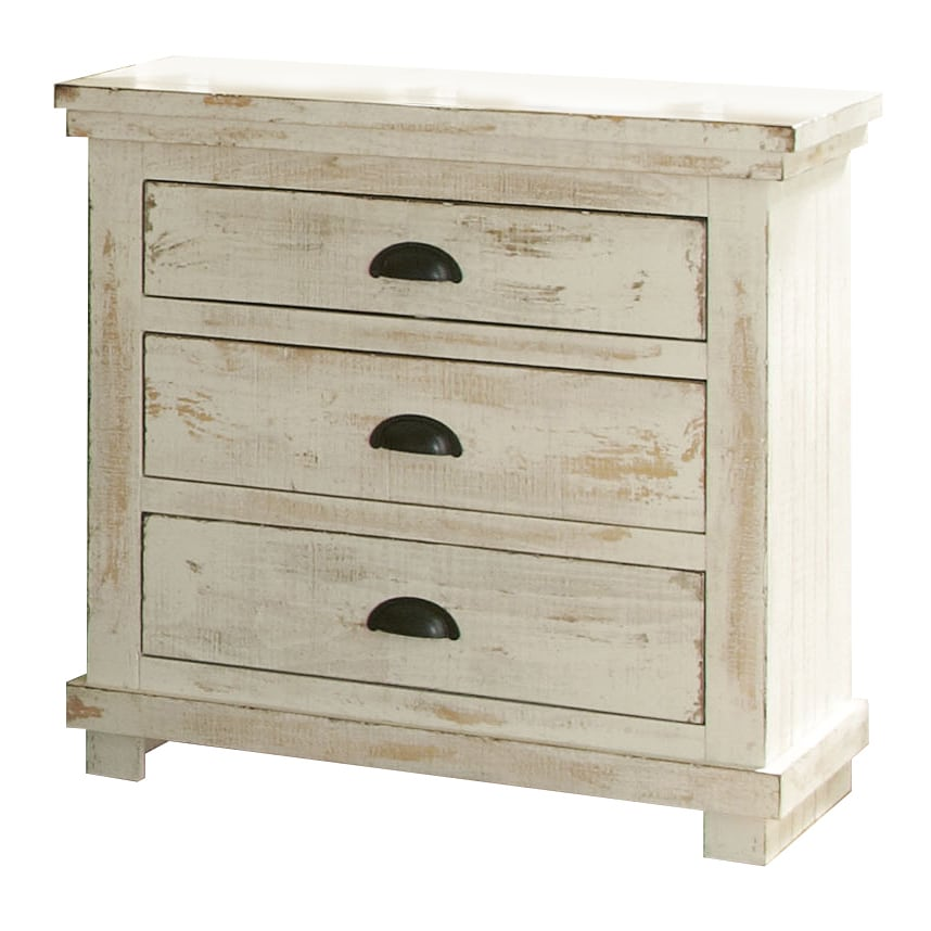 Willow Pine Distressed White Nightstand (Willow Distressed White Nightstand)