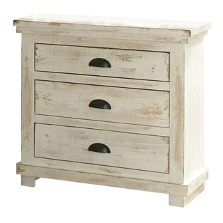 Delightful Willow Pine Distressed White Nightstand