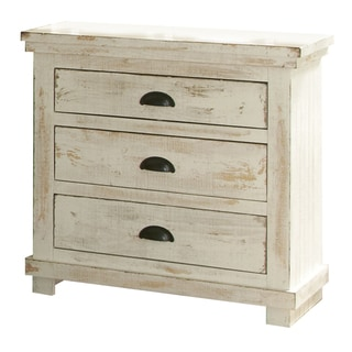 Willow Distressed White Pine Wood 3-drawer Nightstand