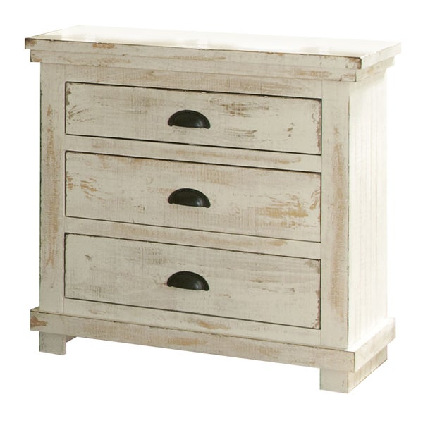 Willow pine distressed white nightstand free shipping for White wood nightstand