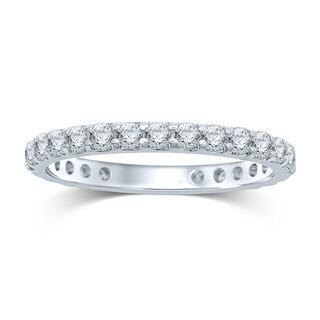 Unending Love 14k White Gold 1ct TDW Prong-set Diamond Eternity Band - White H-I