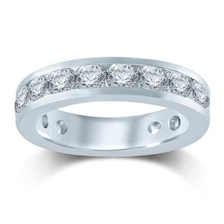 Unending Love 14k White Gold 3ct TDW Diamond Eternity Band - White H-I