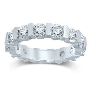 Unending Love 14k White Gold 3ct TDW Diamond Bar Eternity Band (H-I, I1-I2)