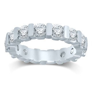 Unending Love 14k White Gold 3ct TDW Diamond Bar Eternity Band - White H-I