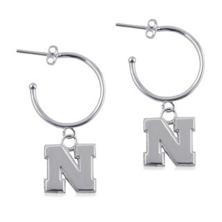 Nebraska Sterling Silver Hoop Earrings