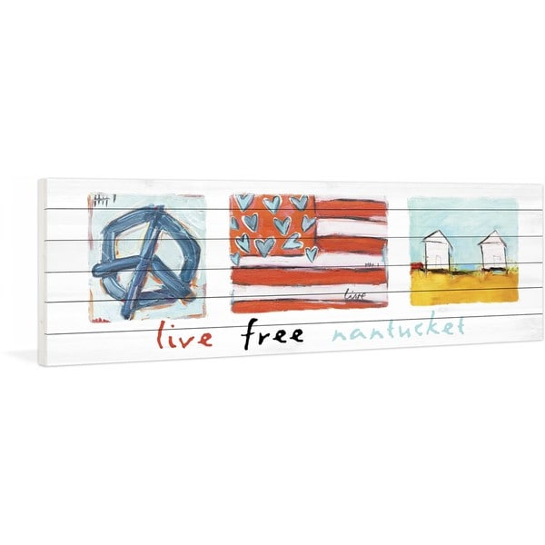 Marmont Hill - Live Free Nantucket by Tori Campisi Painting Print on White Pine Wood - Multi-color