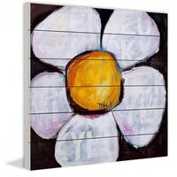 Marmont Hill - Lucky Daisy by Tori Campisi Painting Print on White Pine Wood - Multi-color