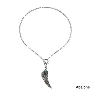 Handmade Angel Wing Stone Inlay .925 Sterling Silver Dangle Charm Bracelet (Thailand)