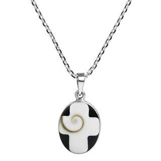 Handmade Cross Inlaid Swirl Shiva Shell Sterling Silver Necklace (Thailand)