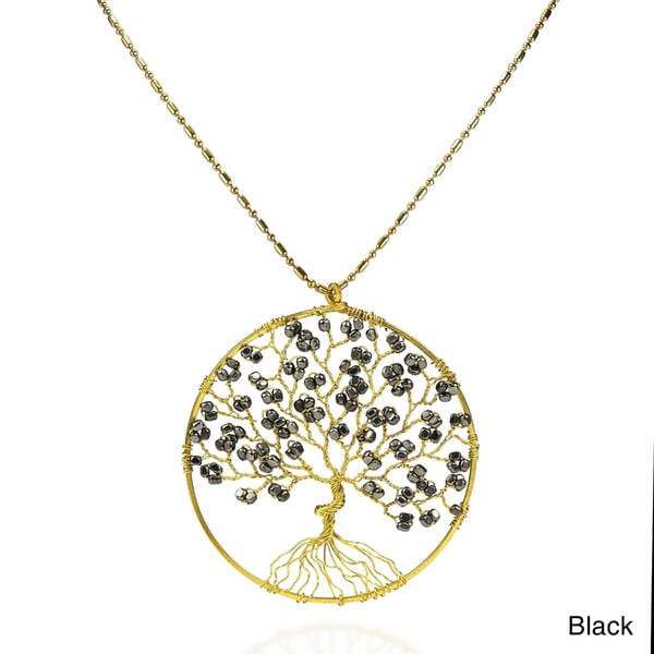 Tree of Life Color Pleated Brass Beads Handmade Necklace (Thailand)