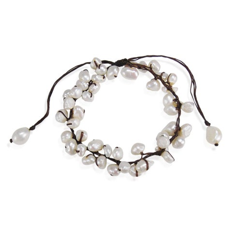 Handmade Summer Breeze Beaded White Cultured Pearl Pull Anklet (Thailand)