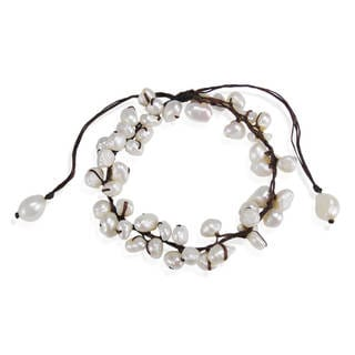 Summer Breeze Beaded White Cultured Pearl Pull Anklet (Thailand)