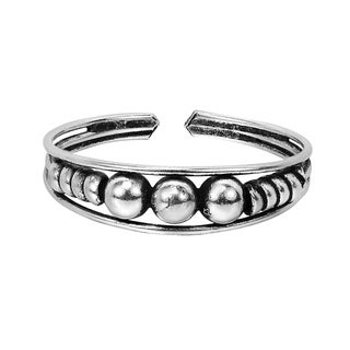 Triple Balls Hilltribe .925 Silver Toe Ring or Pinky Ring (Thailand)