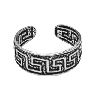 Handmade Greek Key Maze Pattern Sterling Silver Toe or Pinky Ring (Thailand)