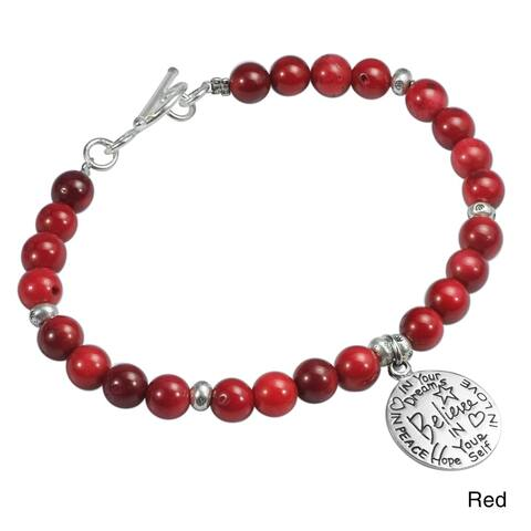 "Handmade Inspirational Sterling Silver ""Believe"" Charm & Pearls Beaded Bracelet (Thailand)"